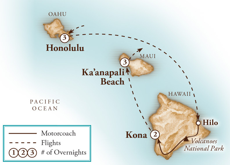 Tour Map for Hawaii Three Island Paradise with Agricultural Highlights