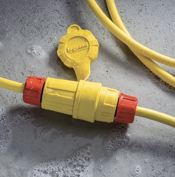 Yellow and orange Steriguard plugs and connectors with Legrand logo stamp