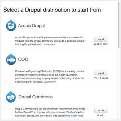 Choose a Drupal distribution