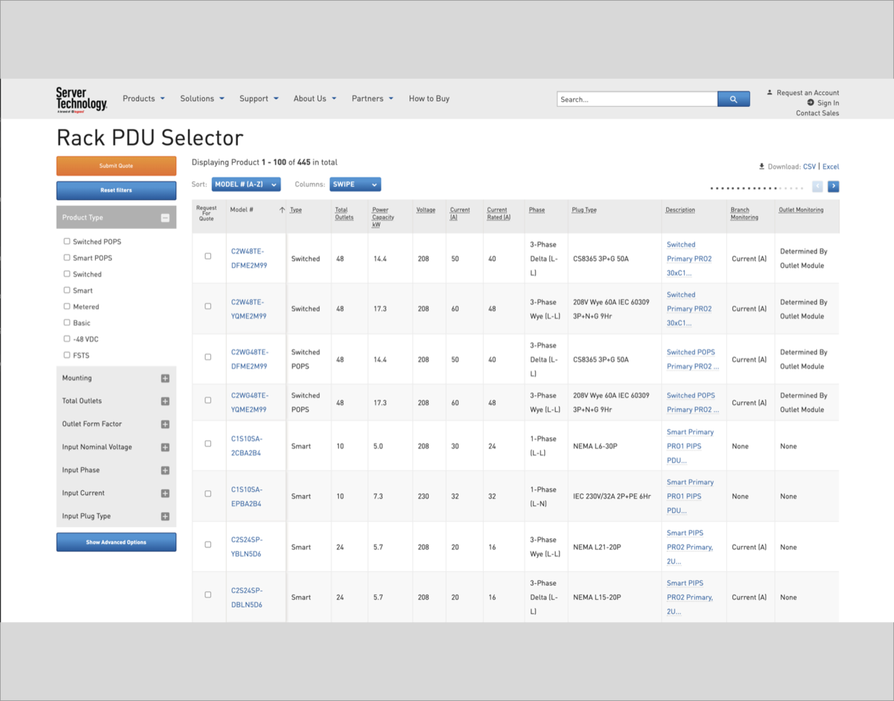 Screen shot of Server Technology PDU selector