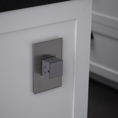 gray pop out outlet in kitchen island