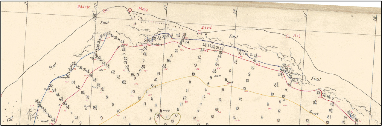 A smooth sheet from 1924 showing depth soundings, kelp beds, rocks, and sediments in Chignik Bay, Alaska