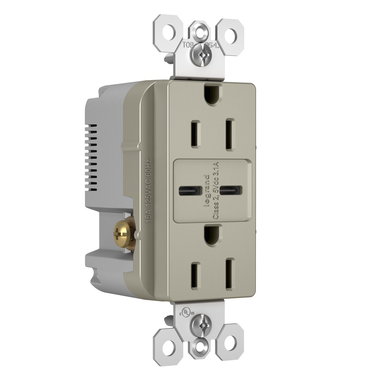 Type C/C USB Chargers with Duplex 15A Tamper-Resistant Outlet, Nickel