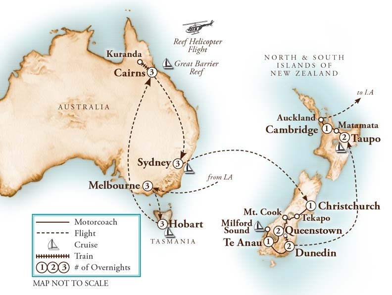 Tour Map for Grand Australia & New Zealand