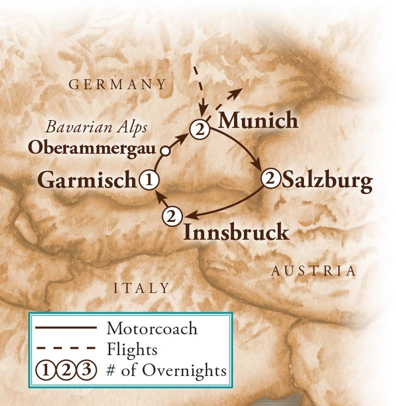 Tour Map for Austria & Germany with Oberammergau