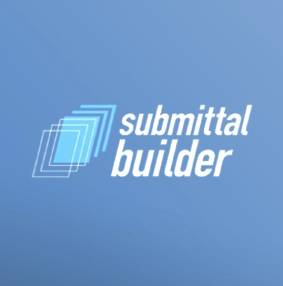 Submittal builder stylized text with square design motif over blue background