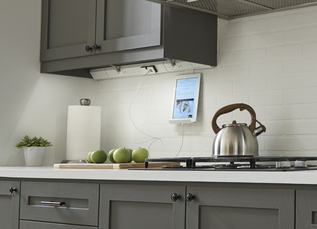 designer kitchen featuring the Under-Cabinet Lighting System from the adorne Collection