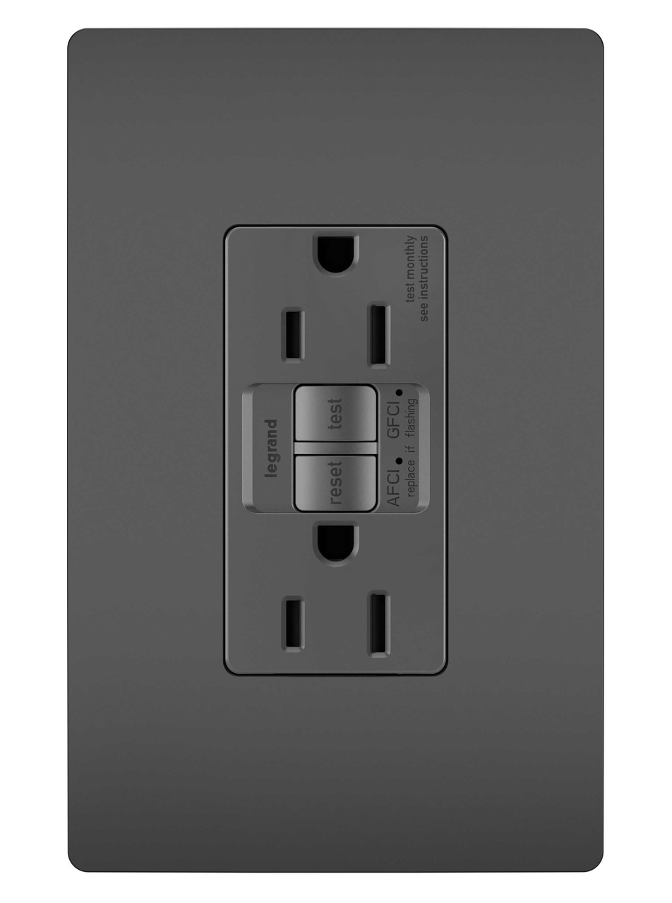 Dual Function Tamper-Resistant 15A AFCI/GFCI Receptacle, Black
