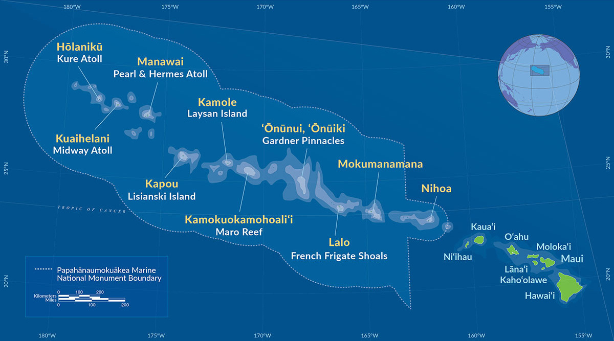 Map of the Hawaiian Islands including the Papahānaumokuāea Marine National Monument