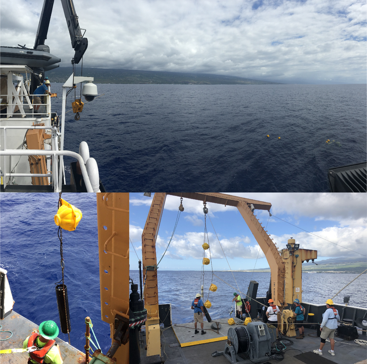 "We maintain a long-term dataset of acoustic recordings collected from high-frequency acoustic recording packages (HARPs) from 13 different sites around the world. One site includes a HARP located offshore from Kona, Big Island. Today, the acoustics team led the effort to (top, left image) recover the ""old"" HARP with data then (right image) redeploy a ""new"" HARP with an empty hard drive to record new acoustic data. Photo: NOAA Fisheries/Marie Hill and Suzanne Yin."