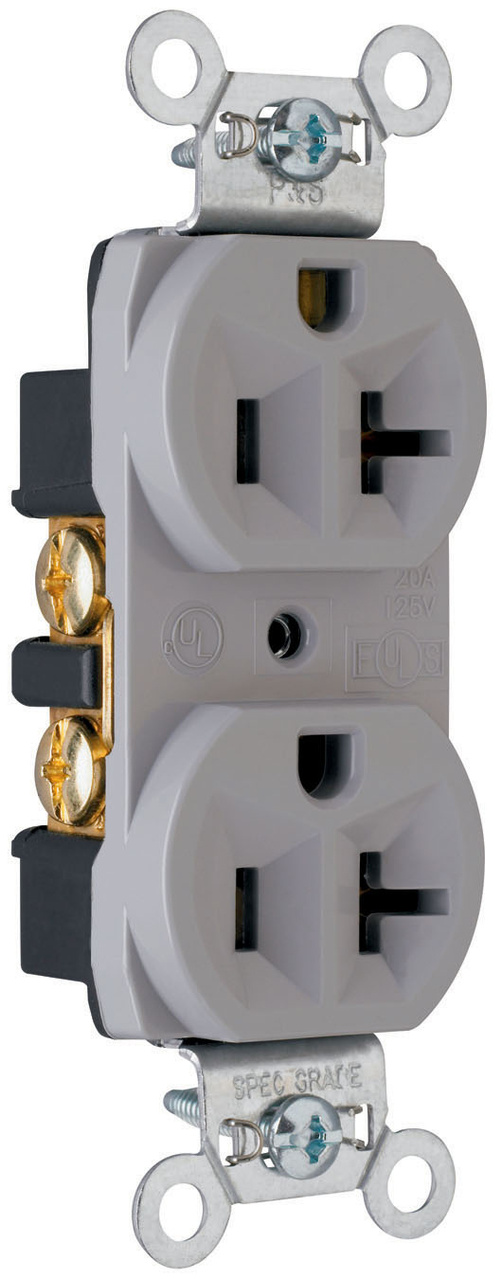 Construction Spec Grade Receptacles, Back & Side Wire, 20A, 125V, Gray
