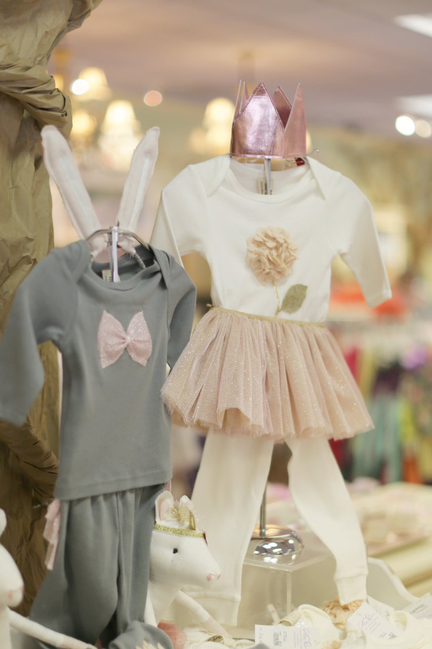 Unicorn stuffed animal, $130; crown, $28; outfits, $68 each and tutu, $50 at Cotton Tails