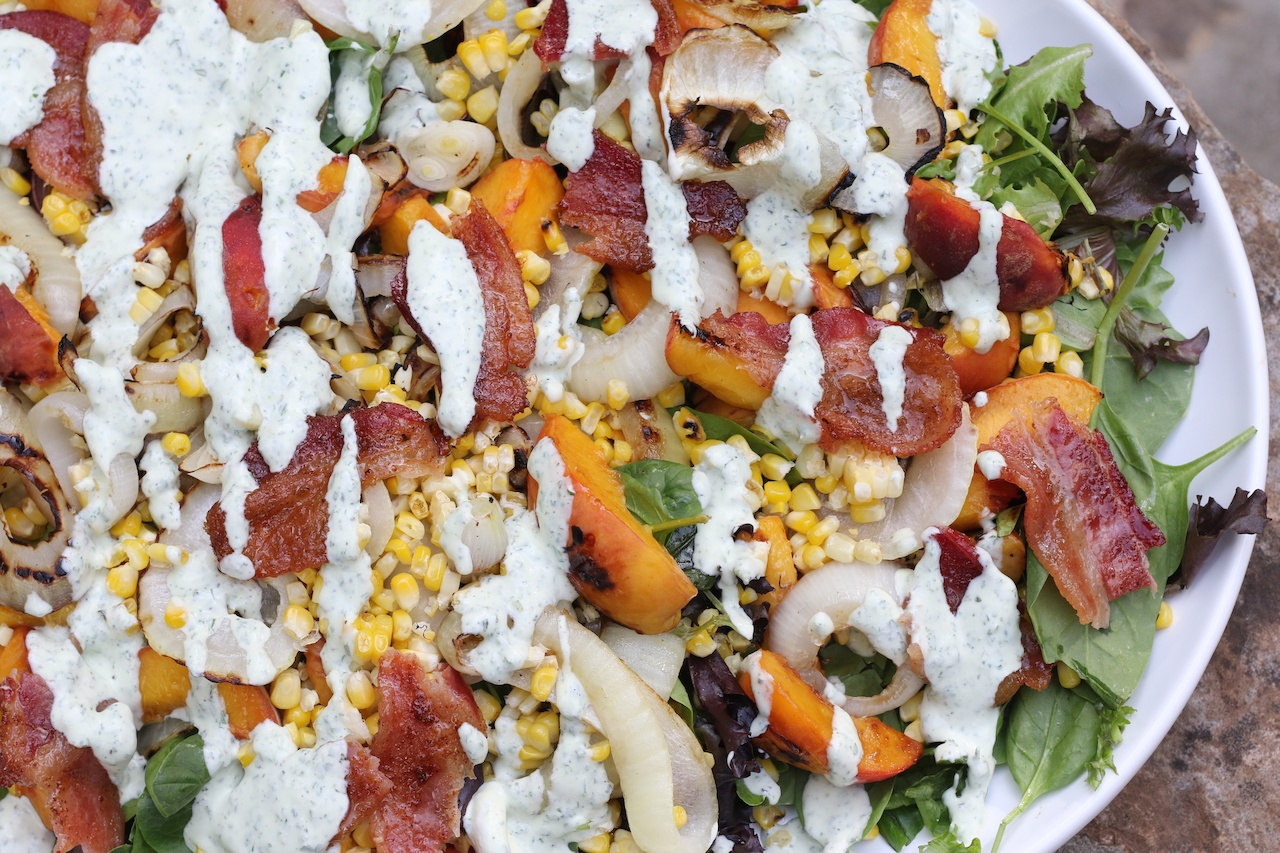 StyleBlueprint: Grilled Peach, Onion, Corn and Bacon Salad with Buttermilk Goat Cheese Herb Dressing