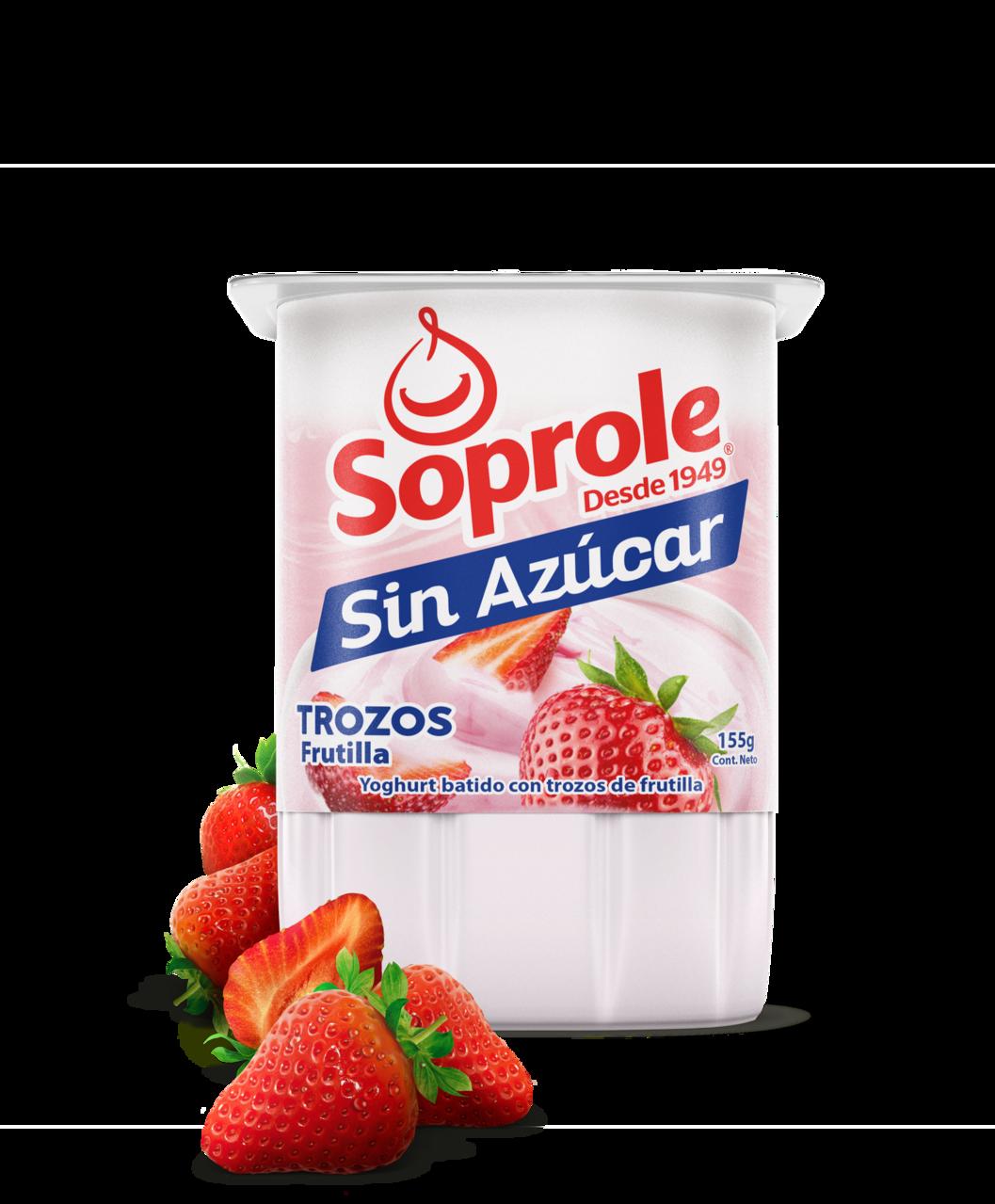 Soprole Yoghurt sin azúcar trozos frutilla 155