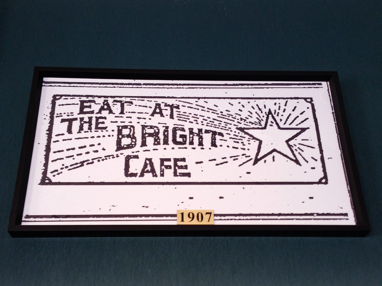 The first art advertising The Bright Star reveals that the star has always been central to the logo. The Bright Star went from a 25-seat cafe to a sprawling restaurant that can seat over 300 people.