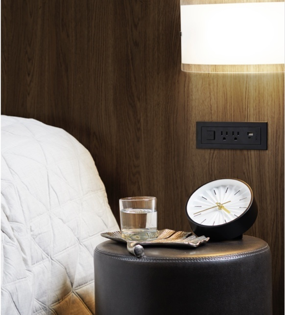 radiant Collection by Legrand furniture power built into hotel headboard