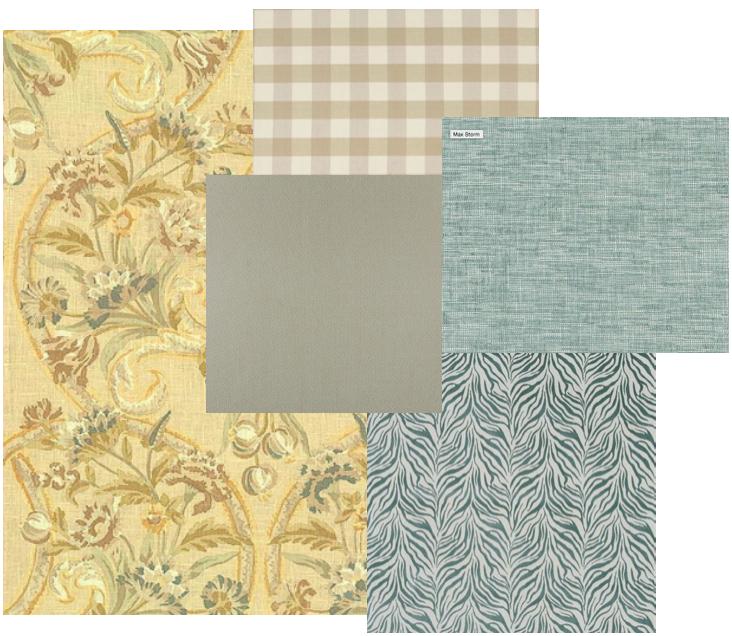 Dunaway's mood board mixes a variety of patterns and fabrics.