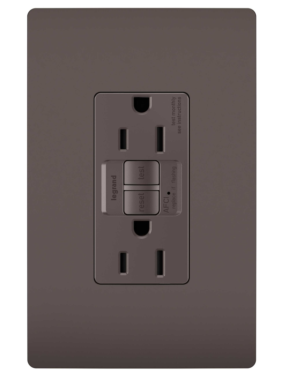 Tamper-Resistant 15A Outlet Branch Circuit AFCI Receptacle, Brown