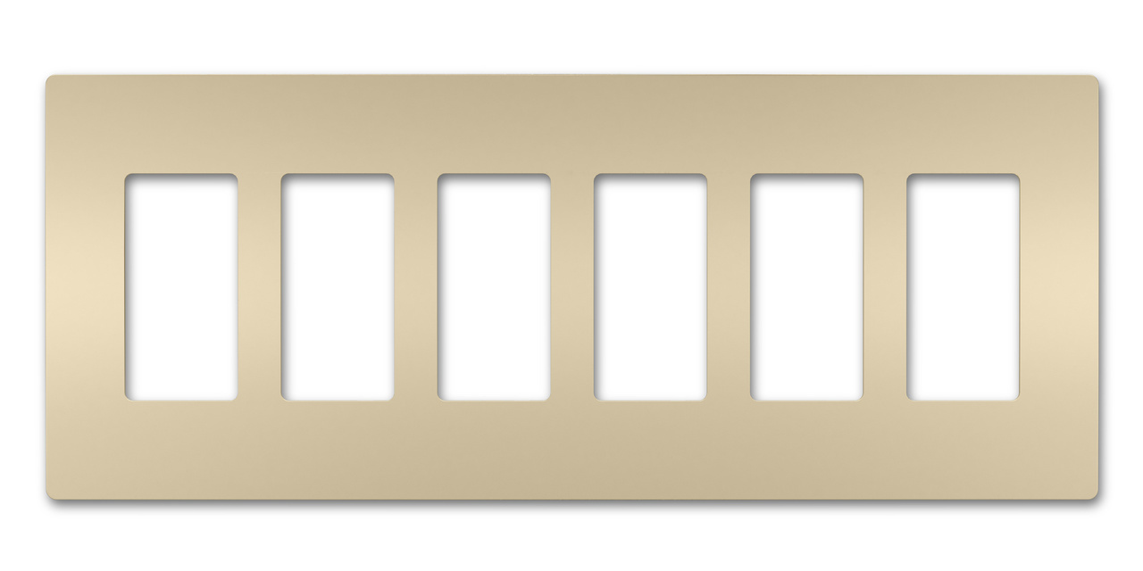 Six-Gang Screwless Wall Plate, Ivory