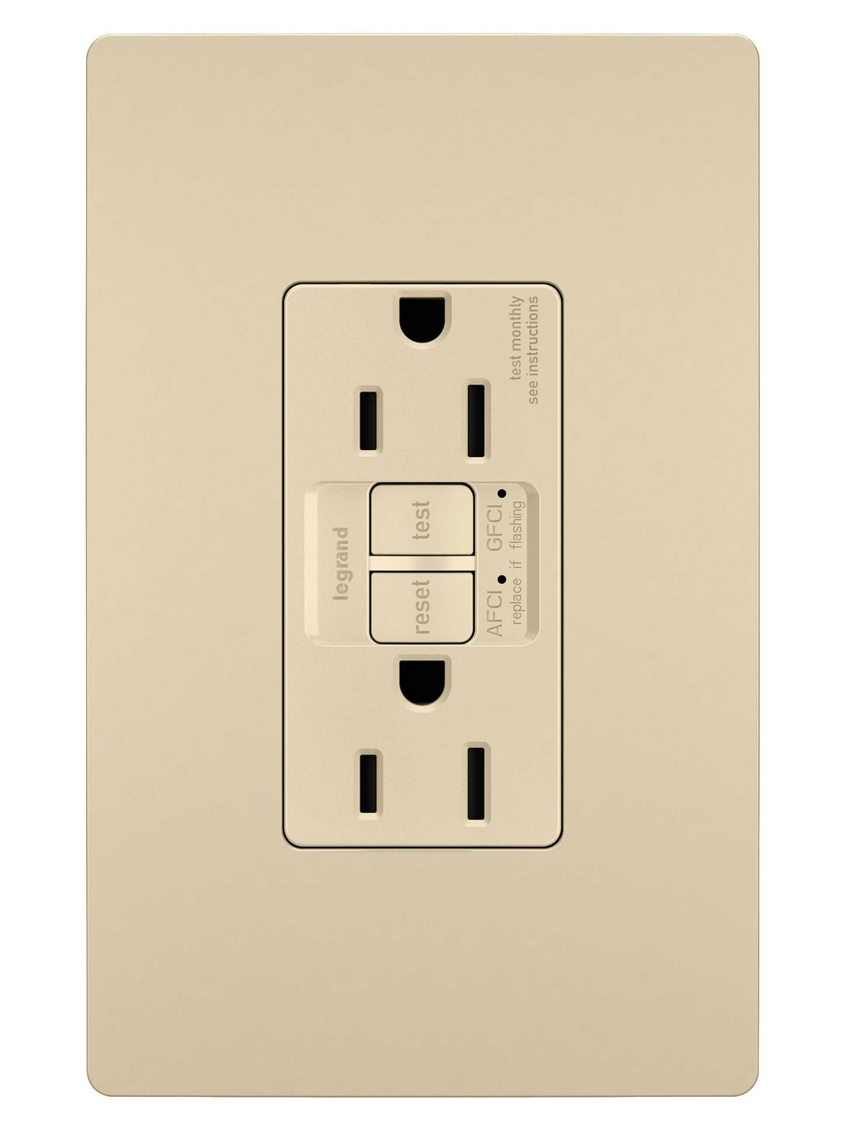 Dual Function Tamper-Resistant 15A AFCI/GFCI Receptacle, Ivory