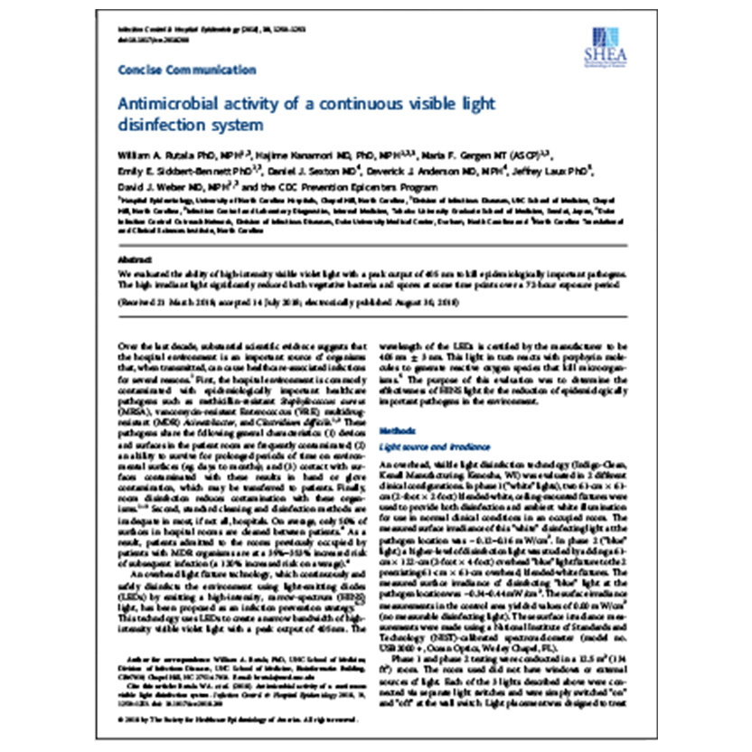 Antimicrobial Activity of a Continuous Visible Light Disinfection System Peer Reviewed Article