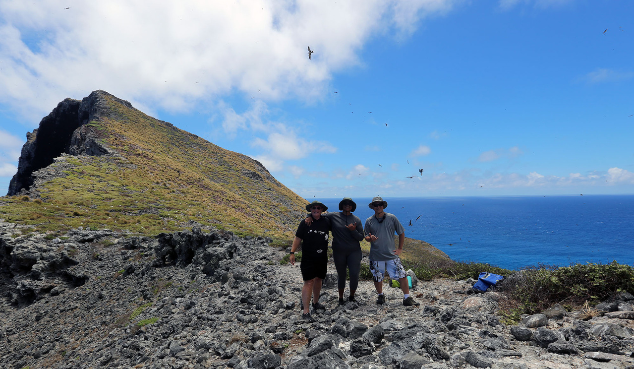 Nihoa shore team searching for invasive grass.