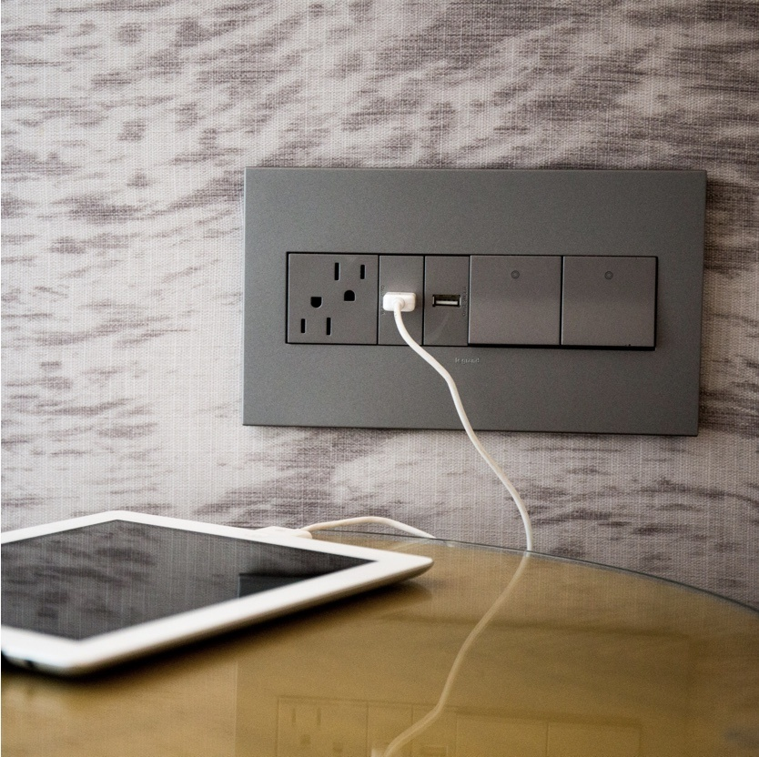 adorne furniture power center in wall over nightstand with tablet USB charging