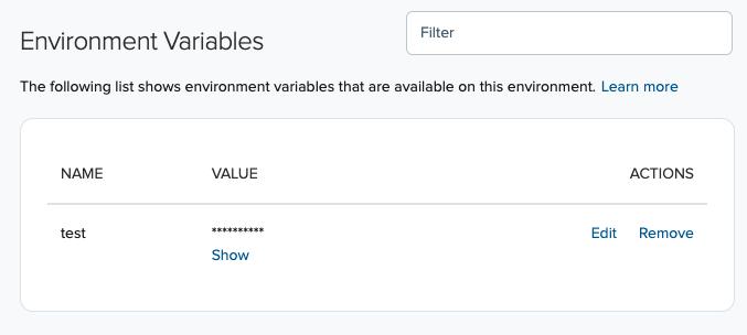 Cloud environment variables list