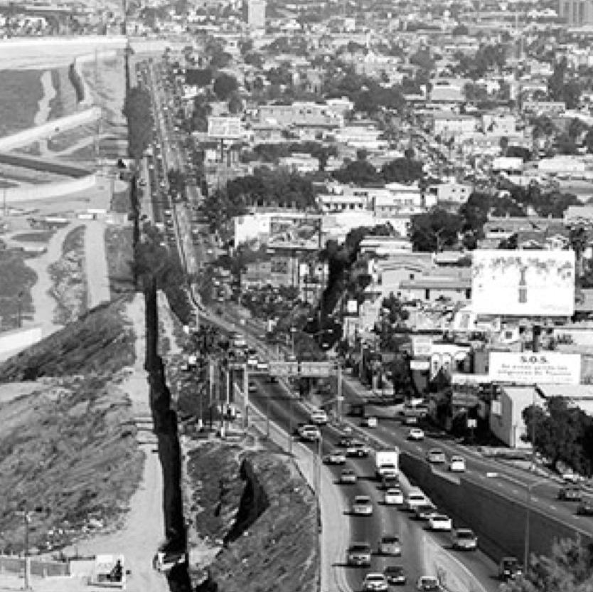 Black and white aerial photo of Tijuana
