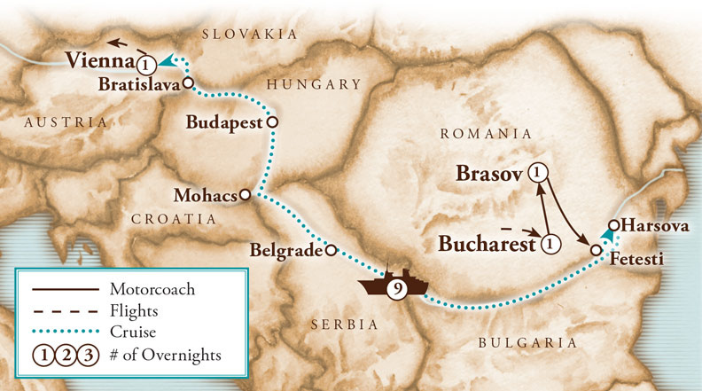 Tour Map for Danube Delta River Cruise