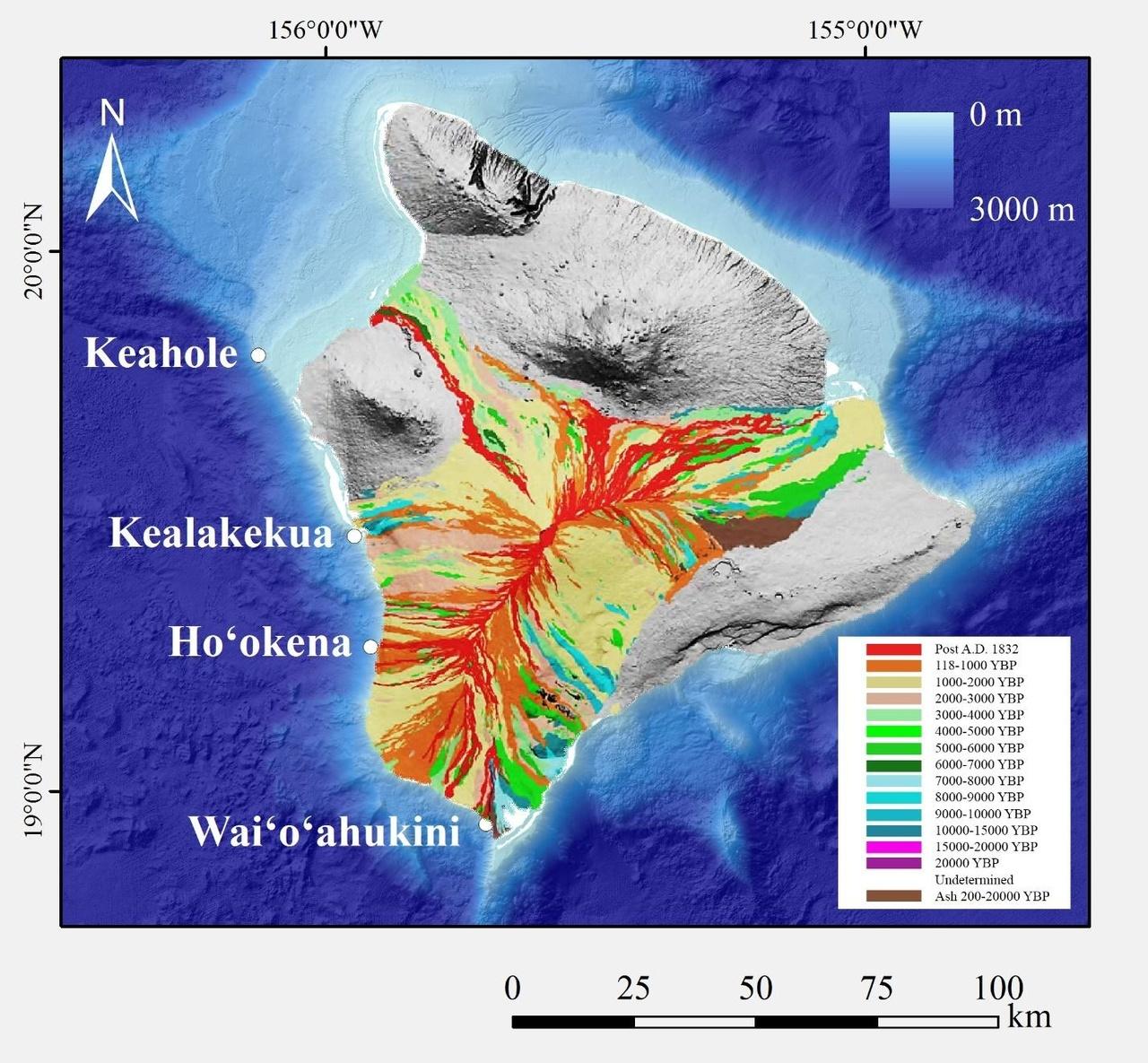 Map of Mauna Loa lava flows.
