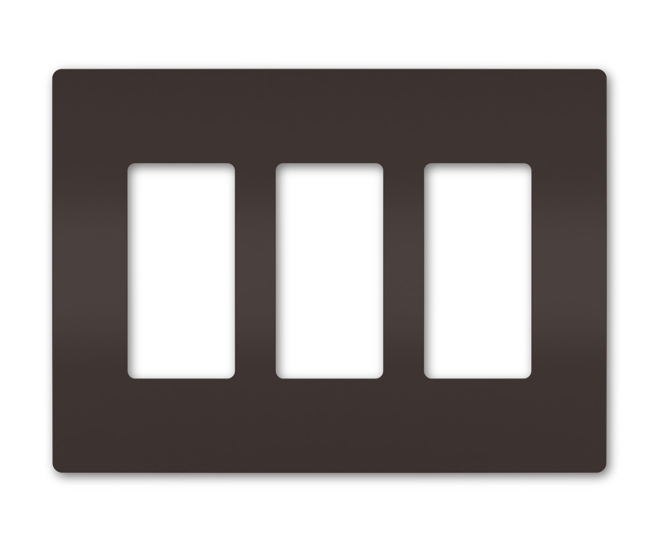 Three-Gang Screwless Wall Plate, Brown