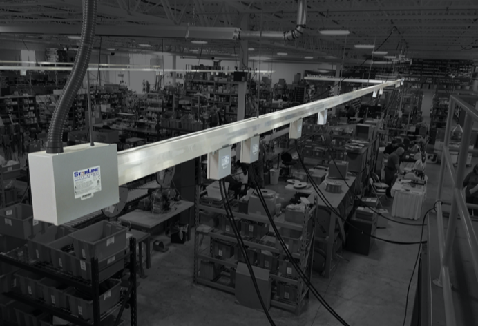 Image showing Track Busway overhead in a manufacturing facility