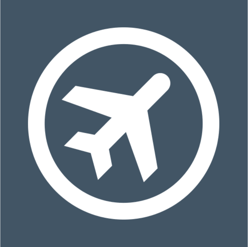 Airplane icon in white with a circle around it and light blue background color