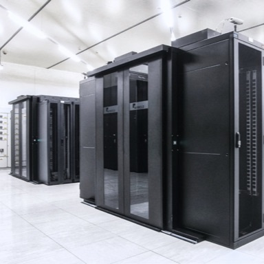 Data center with black racks and cabinets