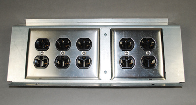 Bracket loaded with Standard Size Wall Plates 3-Gang & 2-Gang