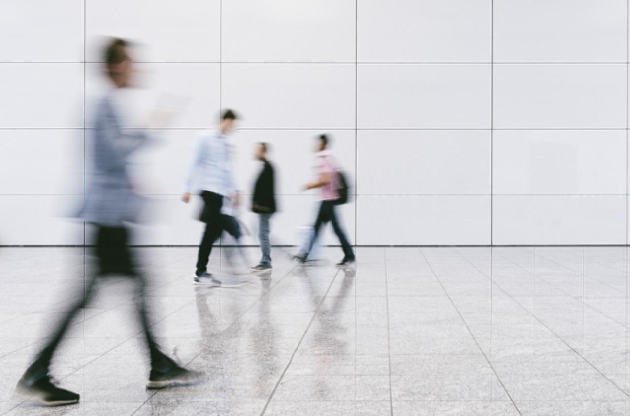 People in motion walking