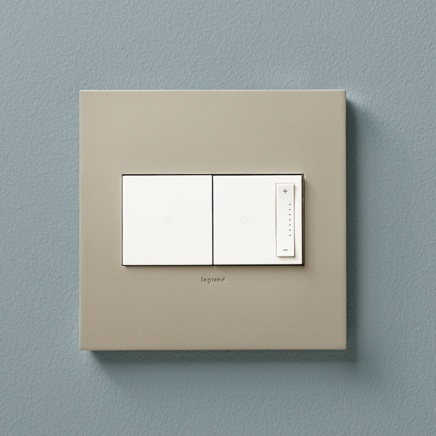 Legrand's adorne Collection Touch light switch and dimmer in Golden Sands designer wall plate