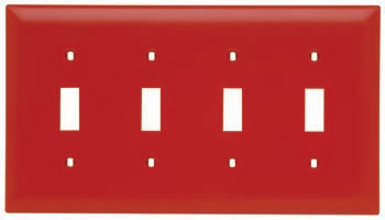 Toggle Switch Openings, Four Gang, Red