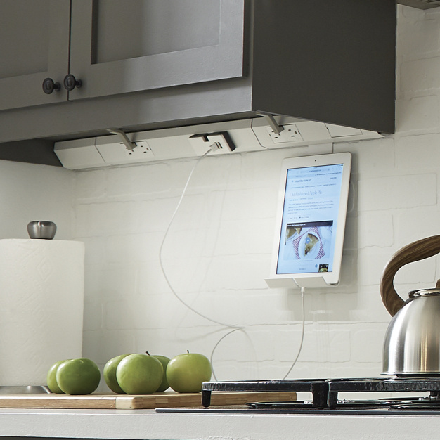 adorne under cabinet lighting in white kitchen charging iPad