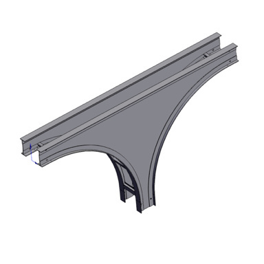 Cable tray 3D rendering of metallic vertical fitting tee down section