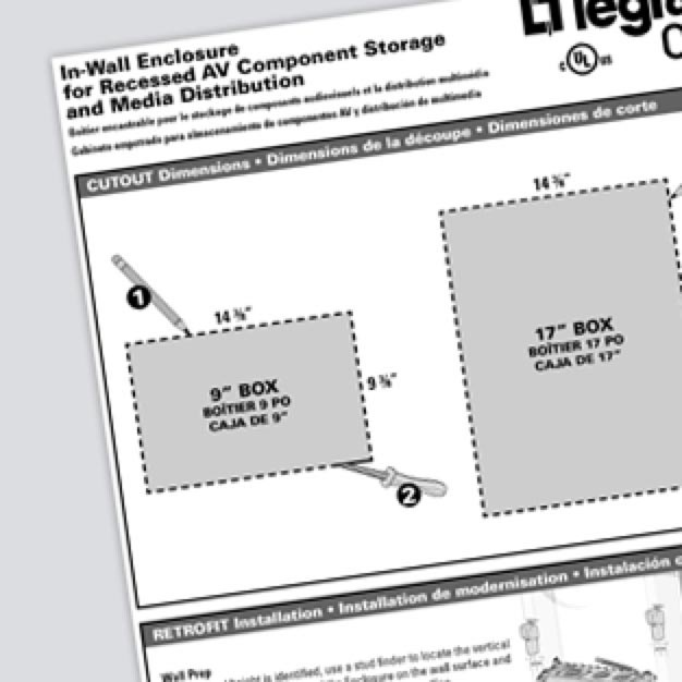 OnQ Dual-Purpose In-Wall Enclosures Cutout Dimensions Reference Sheet