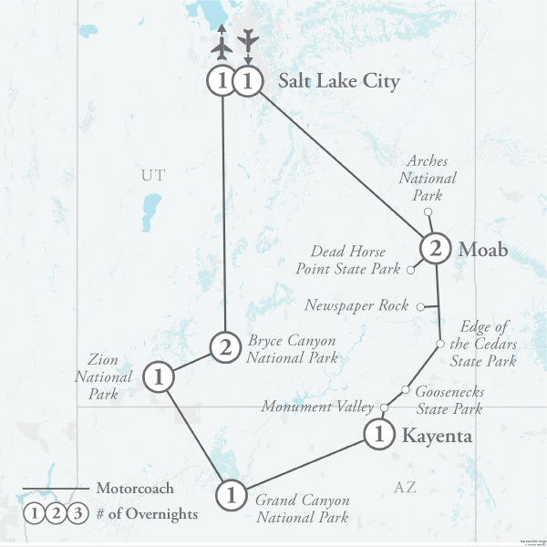Tour Map for The Grand Canyon, Zion & Bryce Canyon