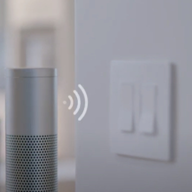 amazon alexa next to smart switch and dimmer