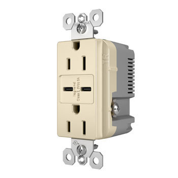 6.0A Type C/C USB Chargers with Duplex 15A Tamper-Resistant Outlet, Light Almond