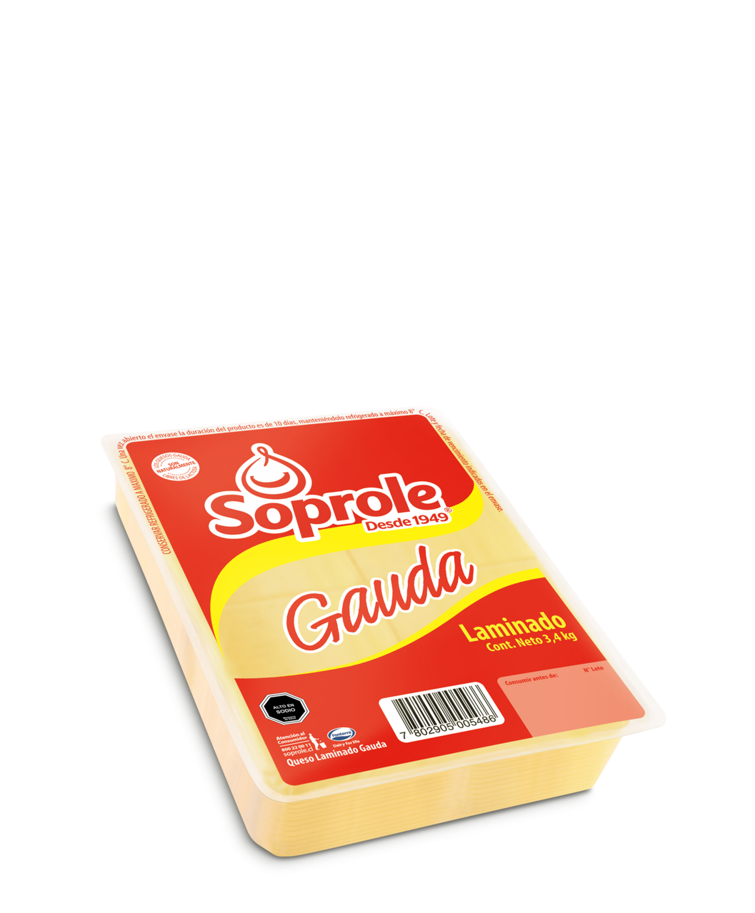 Soprole gauda queso laminado 3-4kg