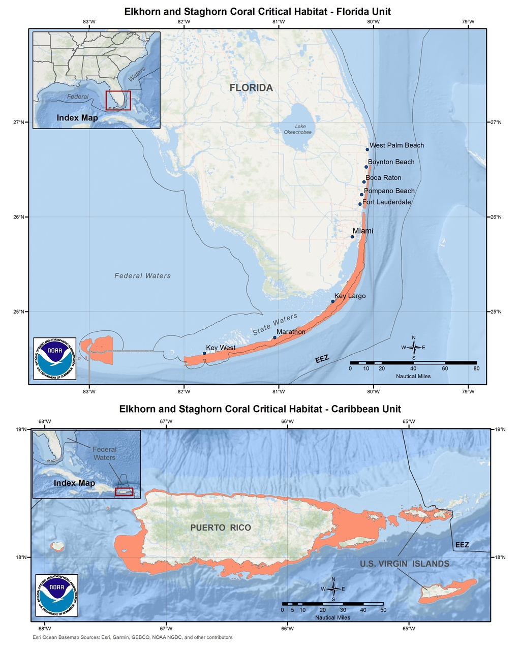 This is a map of elkhorn and staghorn coral critical habitat in Florida and the Caribbean.