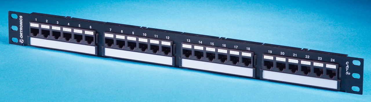 Category 5e patch panel, 24-port, universal T568A/B wiring, six-port modular, OR-SP5EU24