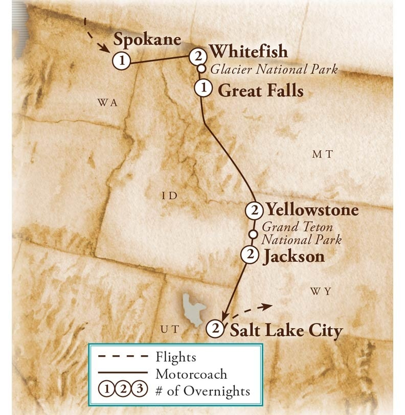 Tour Map for Glacier & Yellowstone Adventure