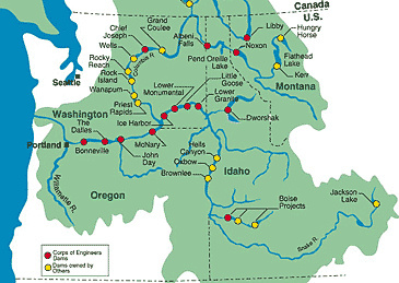 maps showing dams in the Columbia River basin